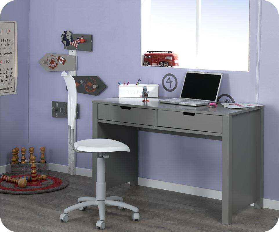 bureau enfant teen gris achat vente bureau chambre. Black Bedroom Furniture Sets. Home Design Ideas