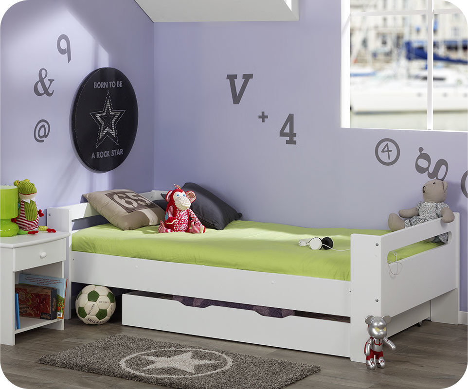 lit enfant wax blanc 90x190 cm avec sommier et matelas. Black Bedroom Furniture Sets. Home Design Ideas