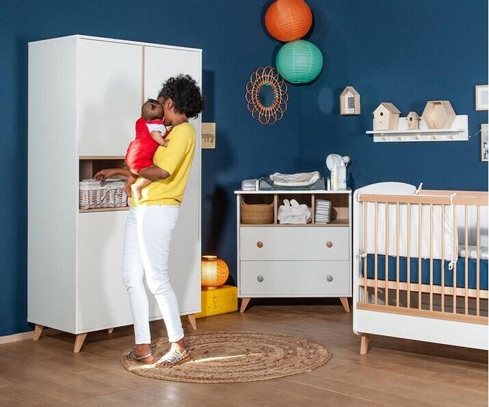 Chambre bébé Complète Pepper Blanche et Lin