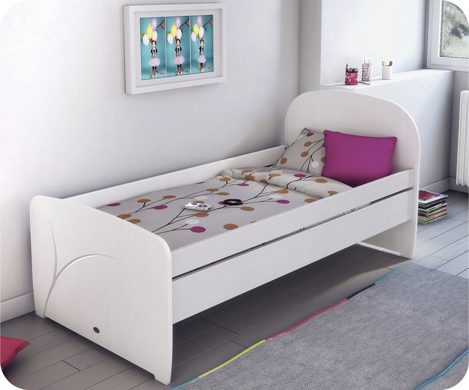 lit enfant luen blanc 90 x 190 cm achat vente lit. Black Bedroom Furniture Sets. Home Design Ideas
