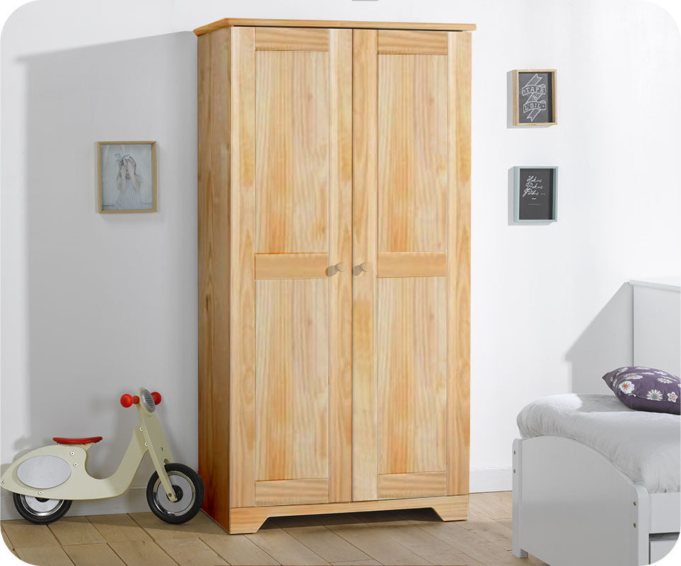 armoire enfant nature brut peindre en bois massif. Black Bedroom Furniture Sets. Home Design Ideas
