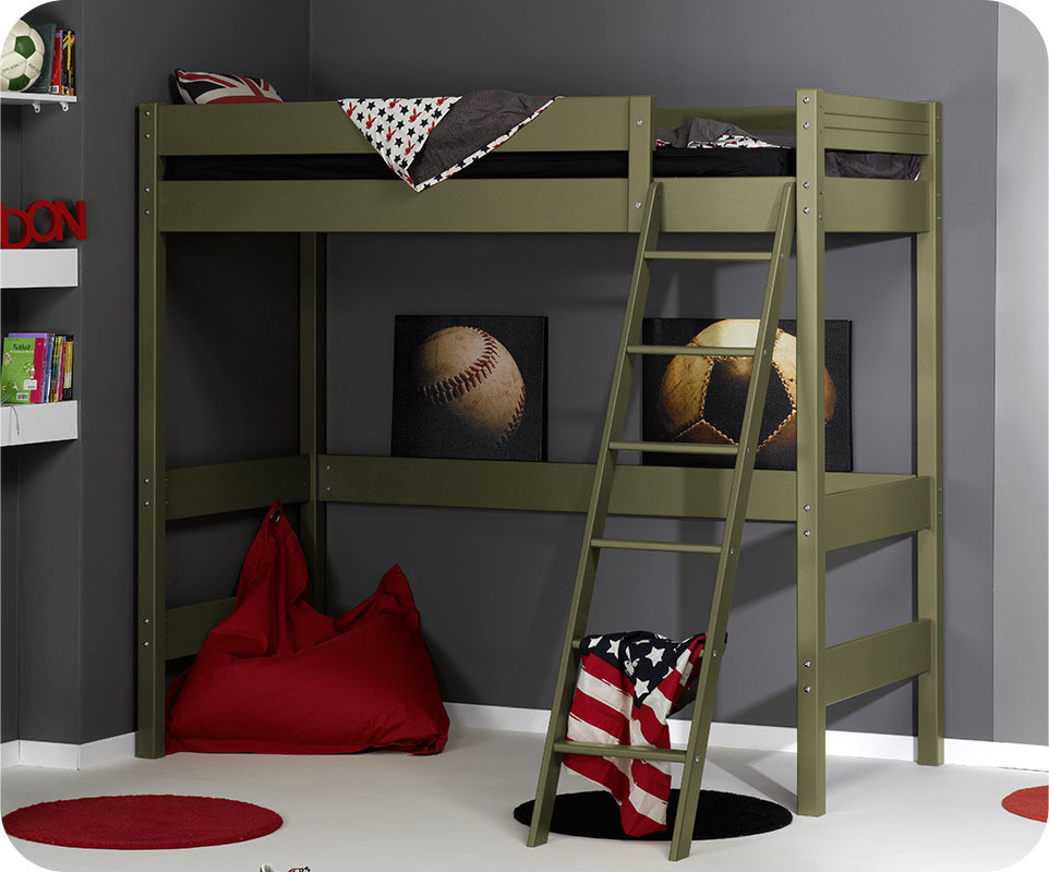 pack lit mezzanine enfant jump 39 in olive 90x190 cm avec matelas ma chambre d 39 enfant com. Black Bedroom Furniture Sets. Home Design Ideas