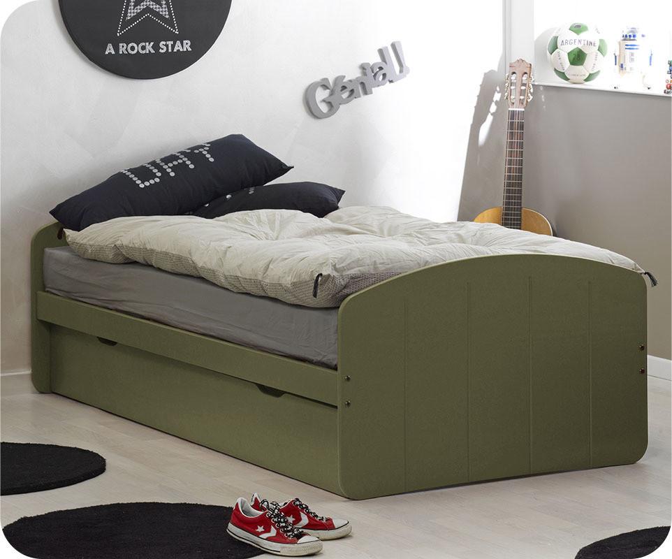 pack lit enfant gigogne dream 39 in olive 90x190 cm avec 2. Black Bedroom Furniture Sets. Home Design Ideas