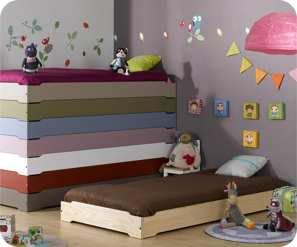 lit enfant empilable brut peindre 90x190 cm avec sommier. Black Bedroom Furniture Sets. Home Design Ideas