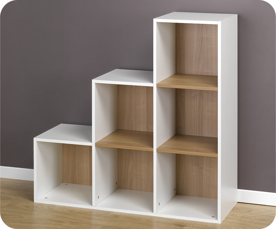 achat vente etag res 6 cubes de rangement escalier modulables blanc. Black Bedroom Furniture Sets. Home Design Ideas