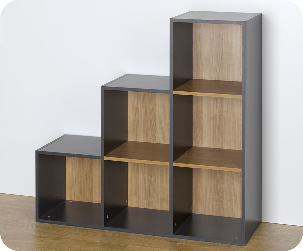 achat vente etag res 6 cubes de rangement escalier modulables gris. Black Bedroom Furniture Sets. Home Design Ideas