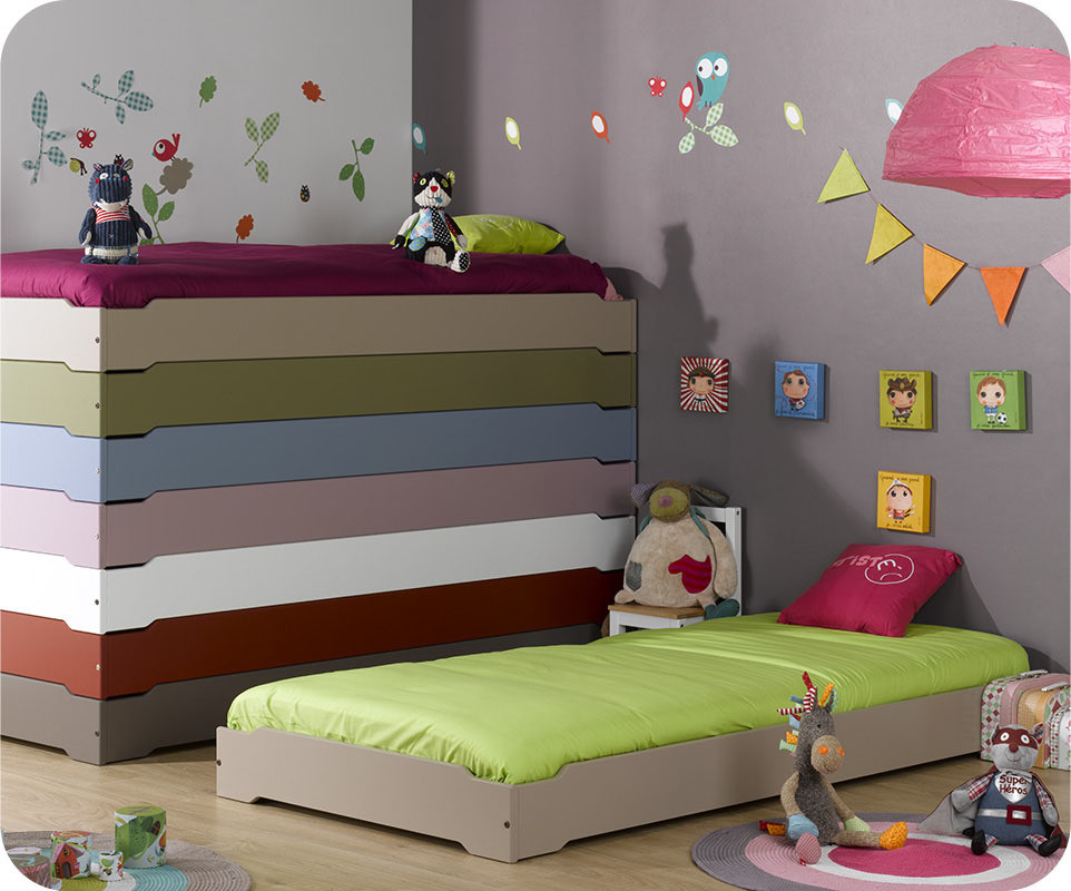 pack lit enfant empilable lin 90x190 cm avec sommier matelas. Black Bedroom Furniture Sets. Home Design Ideas
