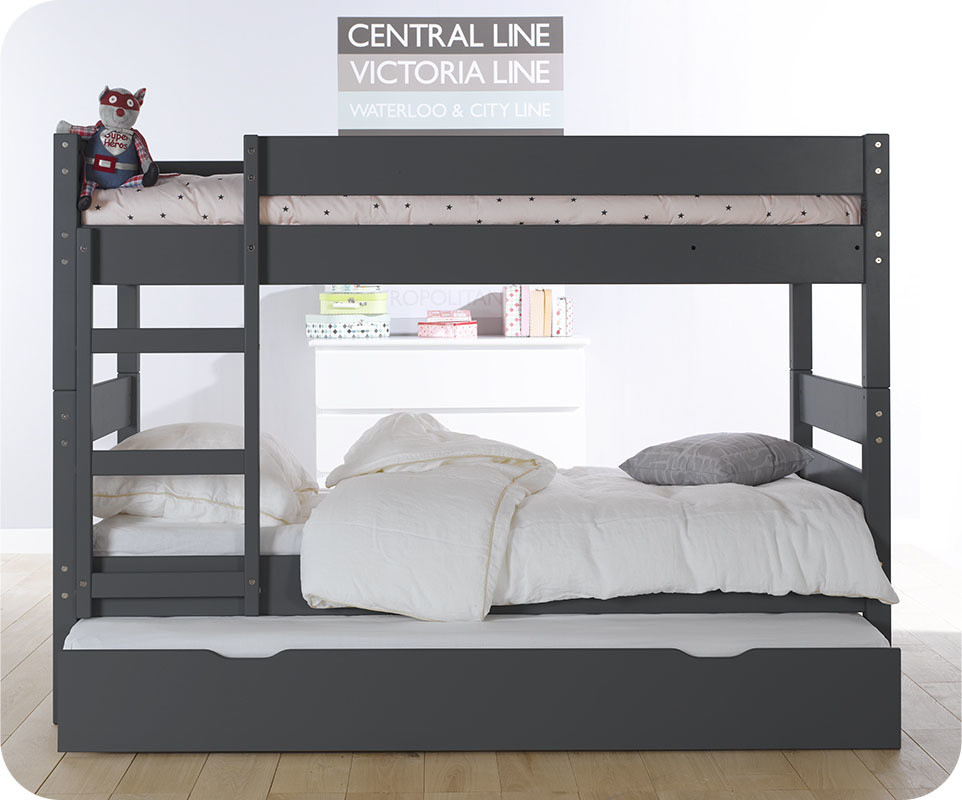 lit superpos enfant 1 2 3 gris 90x190 cm avec sommier gigogne. Black Bedroom Furniture Sets. Home Design Ideas