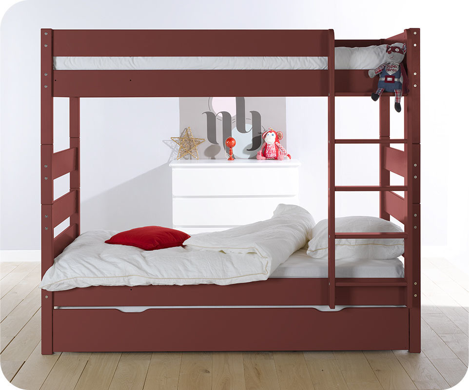 lit superpos kids rouge 90x190 cm achat vente mobilier bois massif. Black Bedroom Furniture Sets. Home Design Ideas