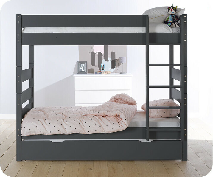 Lit Superposé Kids Gris Anthracite 90x190 cm