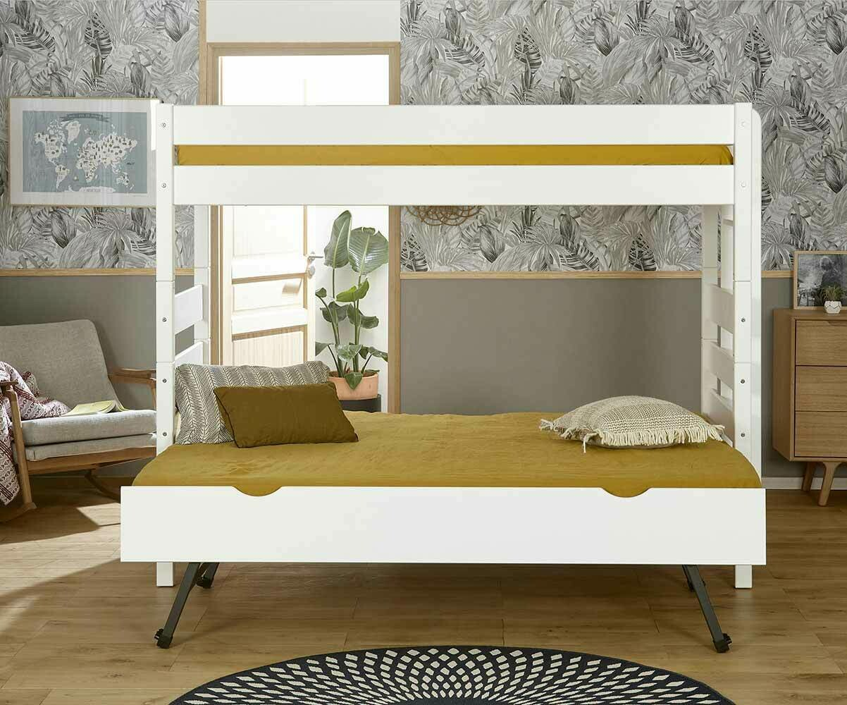 lit superpos kids blanc 90x190 cm avec sommier gigogne. Black Bedroom Furniture Sets. Home Design Ideas