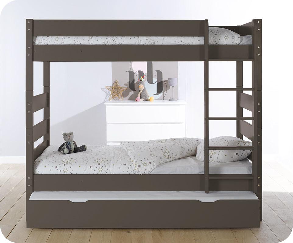 Pack lit superpos kids taupe 90x190 cm avec 2 matelas ma chambre d 39 enfant - Lits superposes 90x190 ...