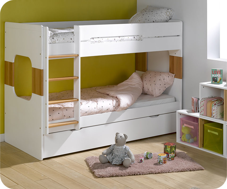 Lit superpos enfant spark blanc et h tre naturel 90x200 cm - Lit superpose enfants ...