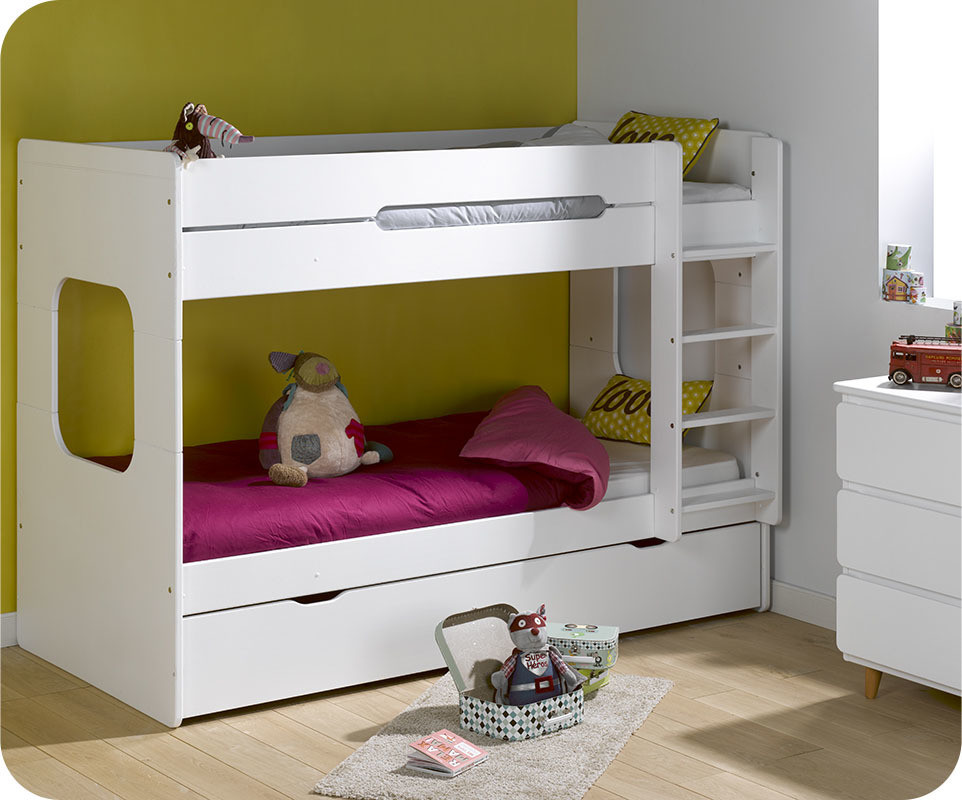 pack lit superpos enfant spark blanc 90x200 cm avec 2 matelas. Black Bedroom Furniture Sets. Home Design Ideas