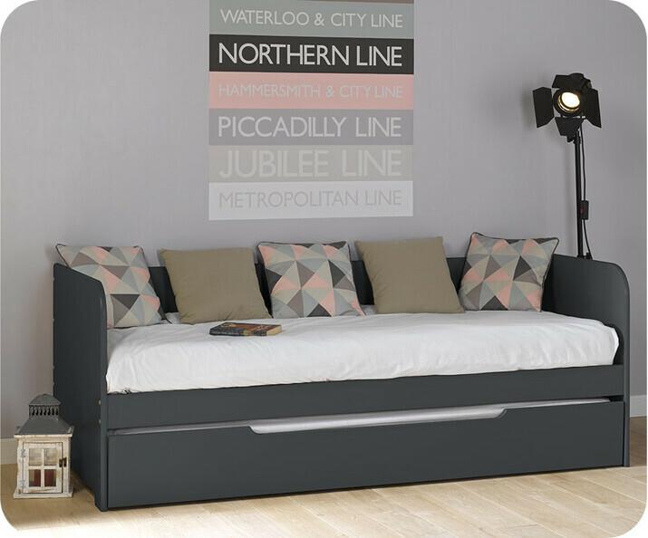 lit banquette gigogne bali gris anthracite 80x200 cm. Black Bedroom Furniture Sets. Home Design Ideas