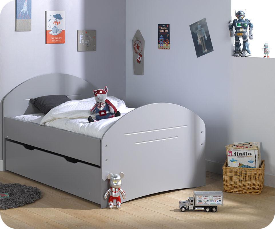 Lit enfant volutif spoom gris tiksy avec tiroir de lit et - Lit avec tiroir matelas ...
