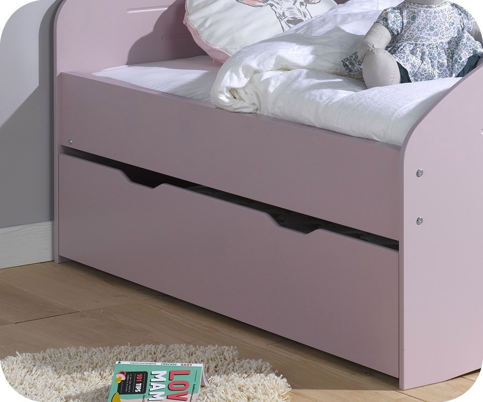 tiroir lit enfant evolutif spoom vieux rose 90x140 cm. Black Bedroom Furniture Sets. Home Design Ideas