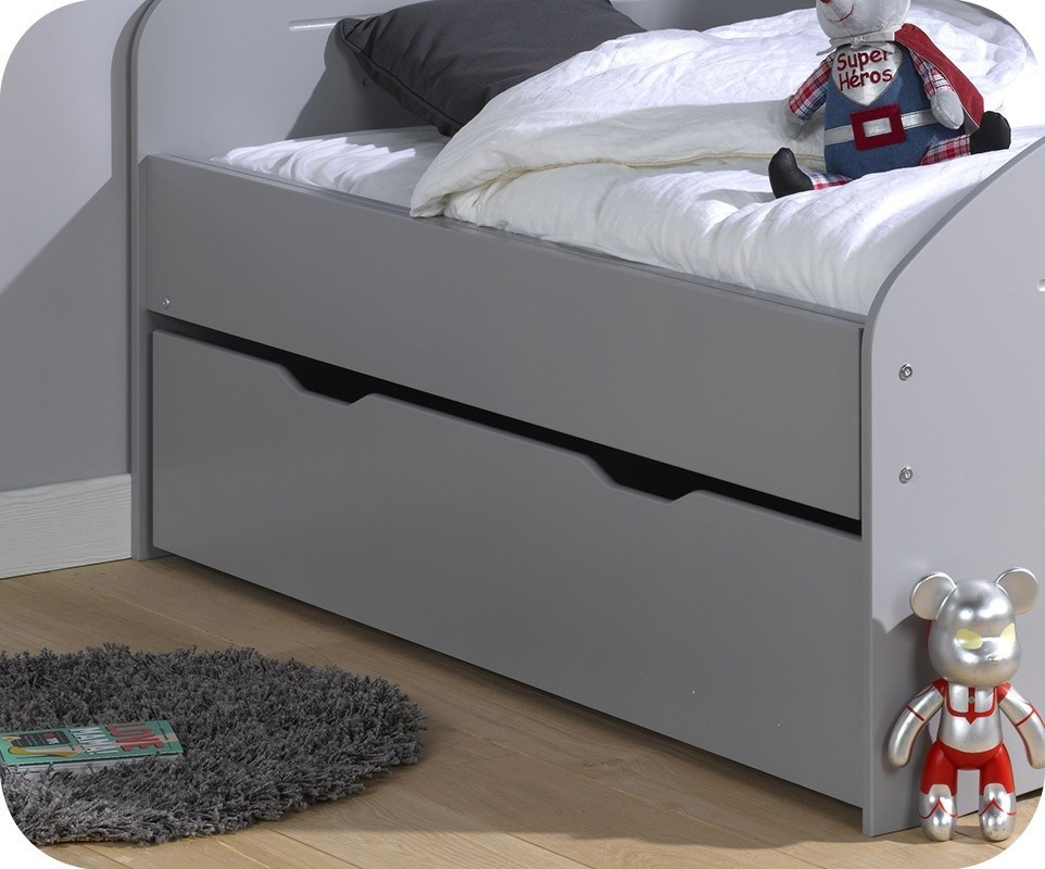 tiroir lit enfant evolutif spoom gris tiksy 90x140 cm. Black Bedroom Furniture Sets. Home Design Ideas
