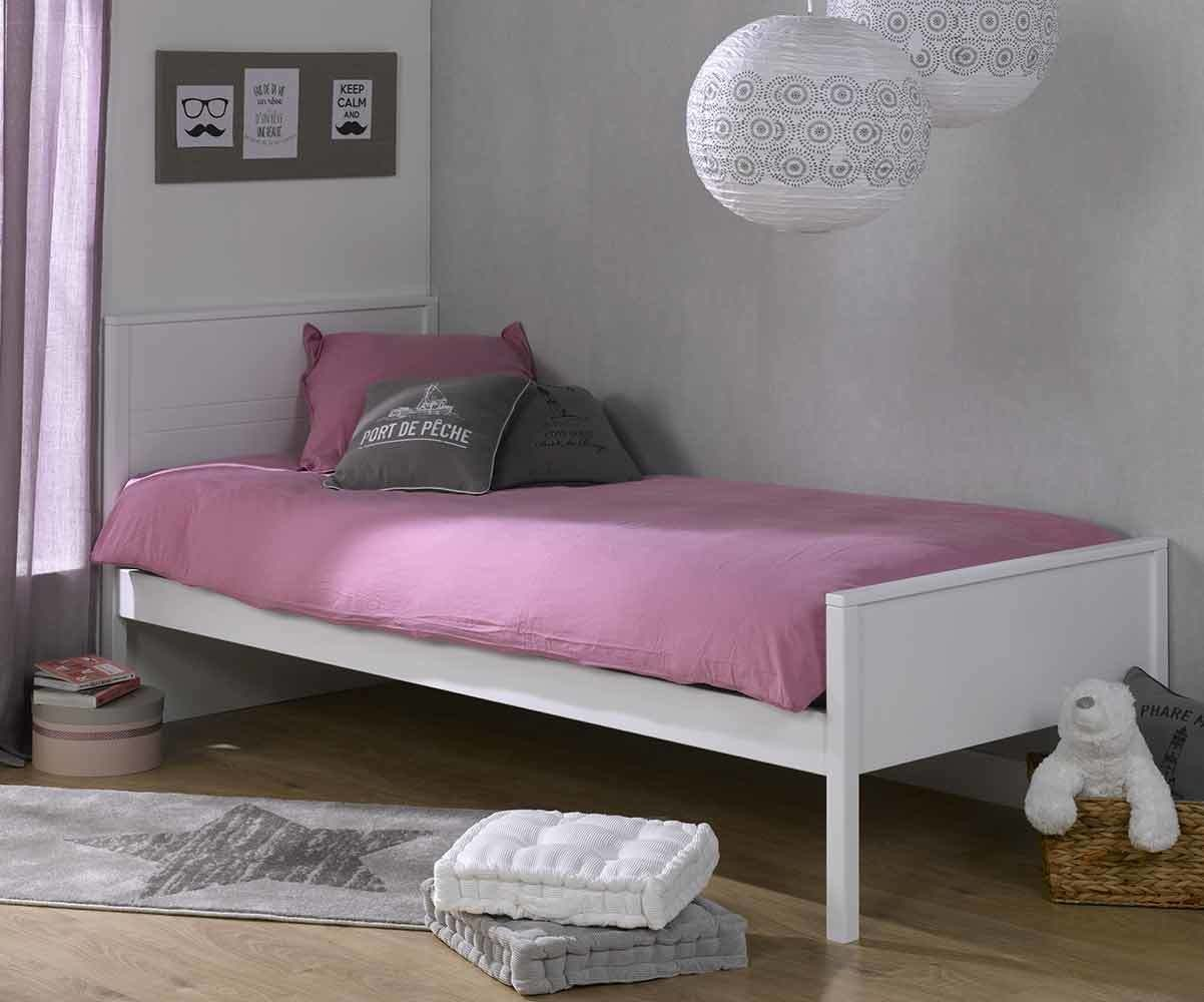 lit ado ines blanc 90x200 cm avec sommier et matelas. Black Bedroom Furniture Sets. Home Design Ideas