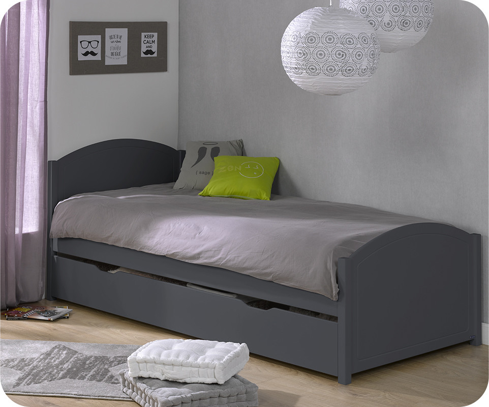 lit ado pac me gris anthracite 90x200 cm avec sommier et matelas. Black Bedroom Furniture Sets. Home Design Ideas