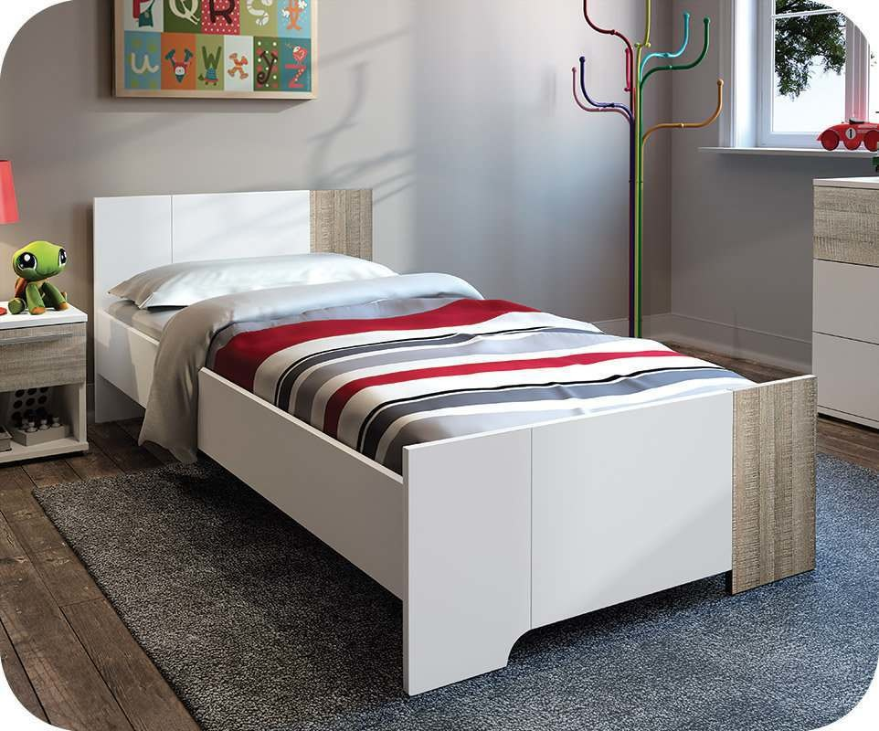 lit enfant jazz blanc et ch ne gris 90x190 cm sommier et. Black Bedroom Furniture Sets. Home Design Ideas