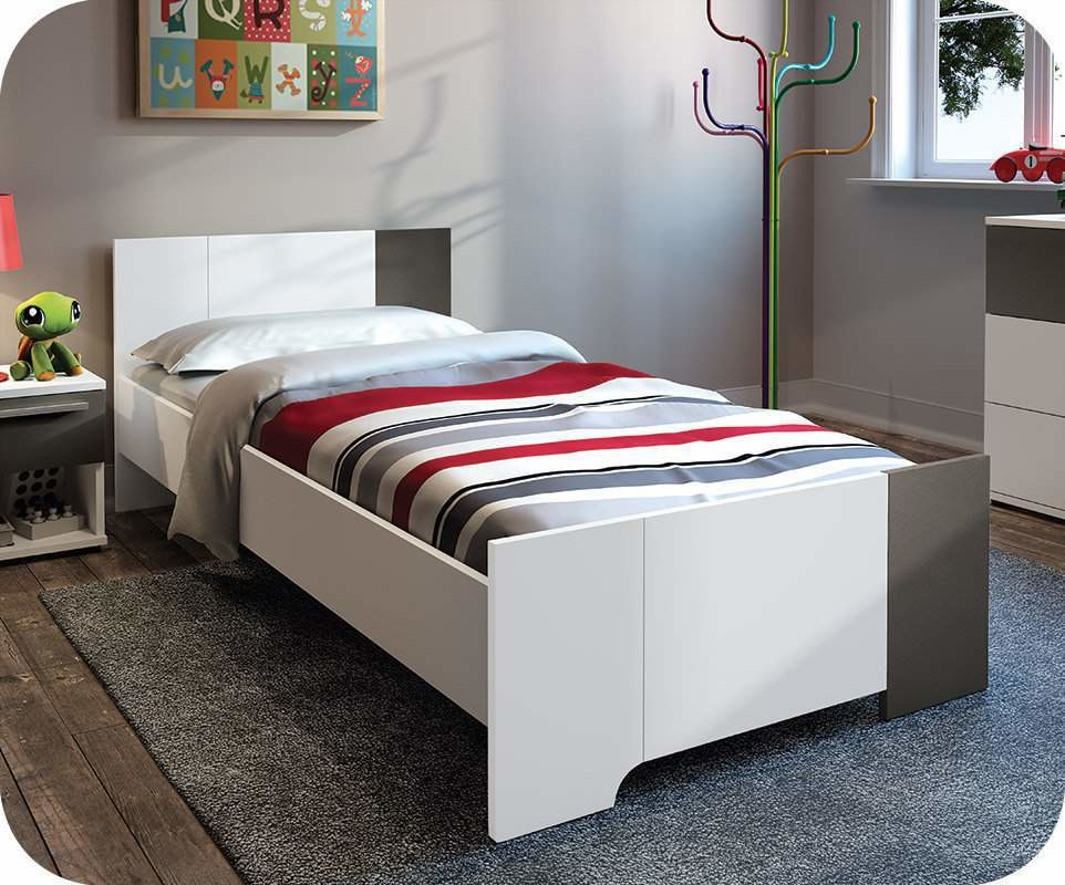 lit enfant jazz blanc et quartz 90x190 cm avec sommier et matelas. Black Bedroom Furniture Sets. Home Design Ideas