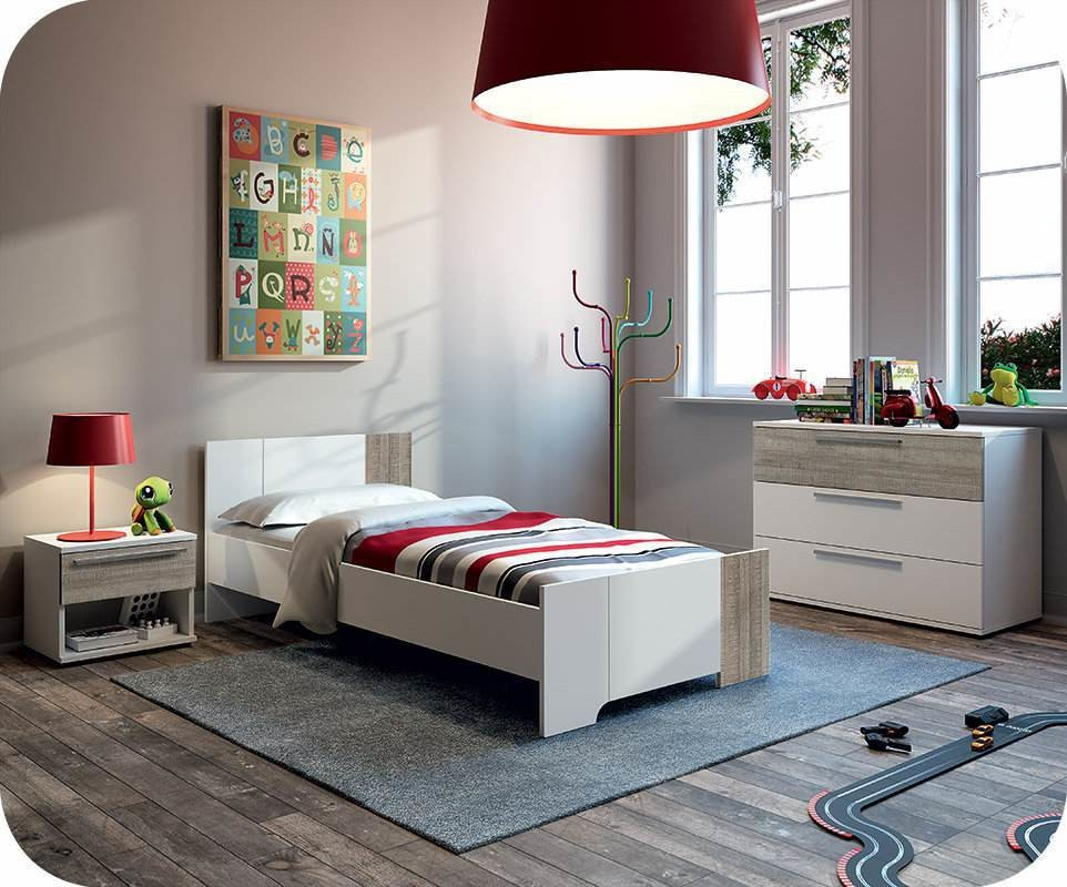 chambre enfant jazz blanche et ch ne gris. Black Bedroom Furniture Sets. Home Design Ideas