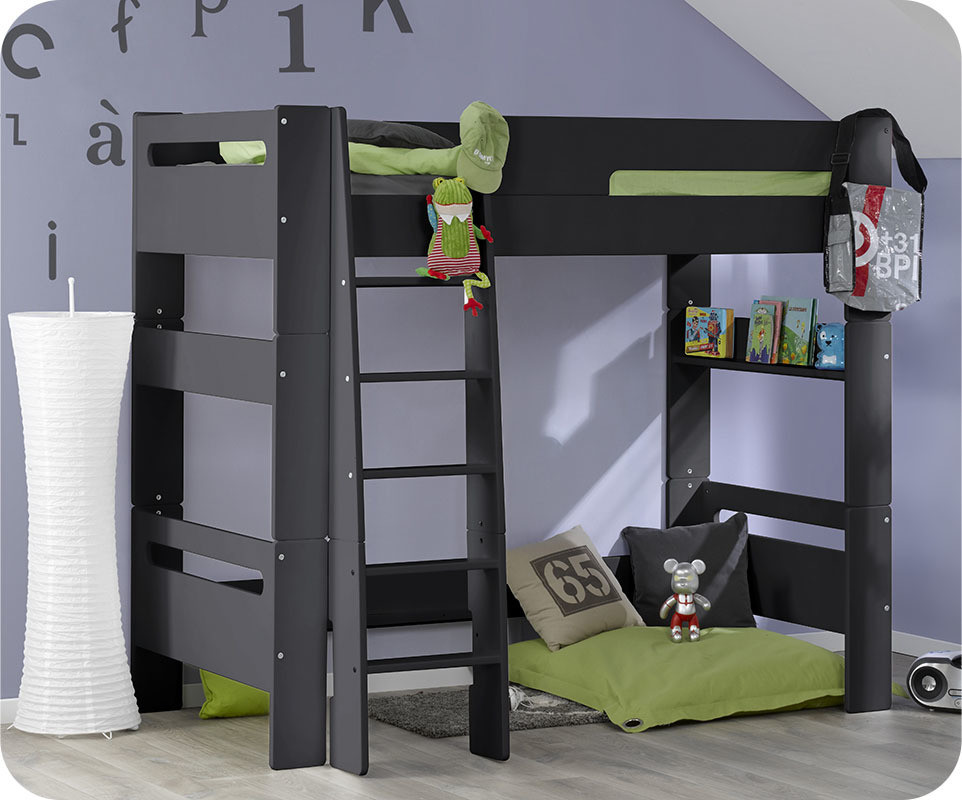 lit mezzanine enfant wax gris anthracite 90x190 cm. Black Bedroom Furniture Sets. Home Design Ideas