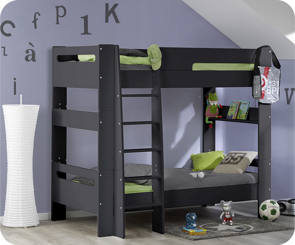 lit superpos enfant wax gris anthracite 90x190 cm. Black Bedroom Furniture Sets. Home Design Ideas