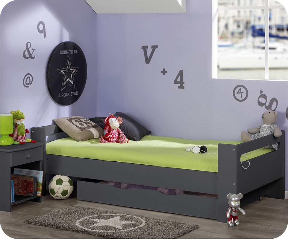 lit enfant wax gris anthracite 90x190 cm avec sommier et matelas. Black Bedroom Furniture Sets. Home Design Ideas