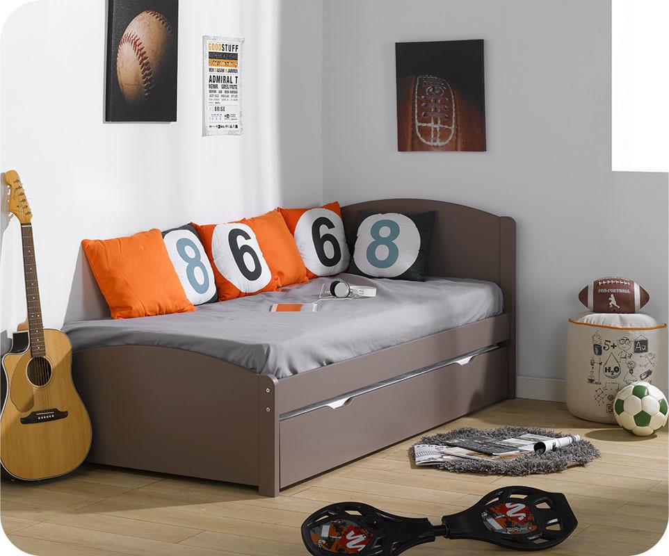 lit gigogne nature taupe 90x200 cm. Black Bedroom Furniture Sets. Home Design Ideas