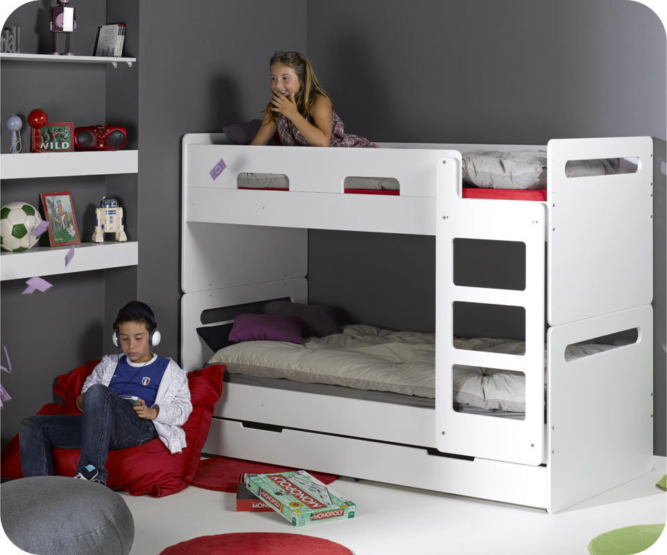 lit superpos eden blanc 90x190 cm avec sommier gigogne. Black Bedroom Furniture Sets. Home Design Ideas