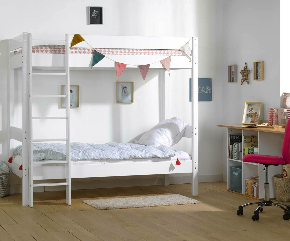 lit superpos enfant clay blanc avec matelas vente mobilier bois. Black Bedroom Furniture Sets. Home Design Ideas