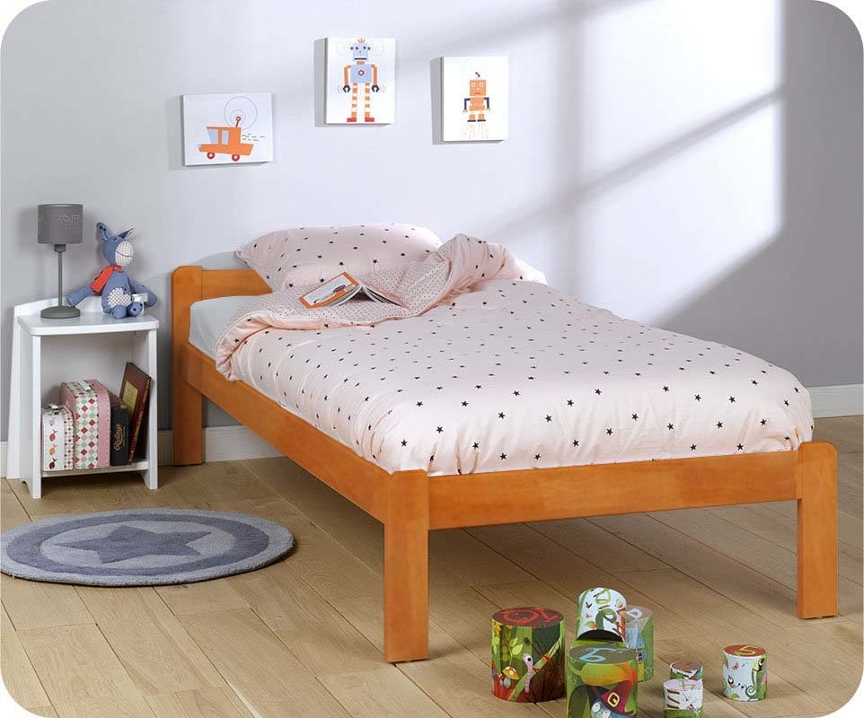 pack lit enfant beddy vernis naturel 90x190 cm avec son matelas. Black Bedroom Furniture Sets. Home Design Ideas