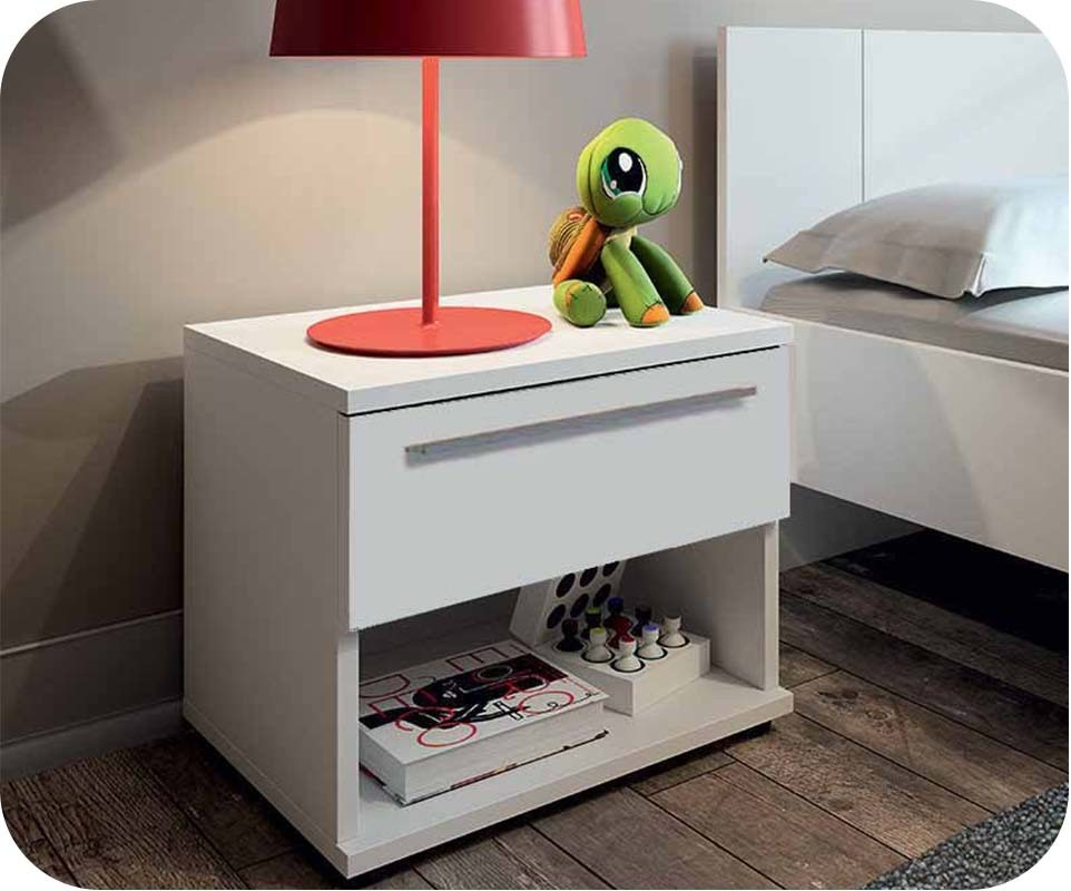 Table de chevet enfant jazz blanc achat vente chevet for Table de chevet enfants