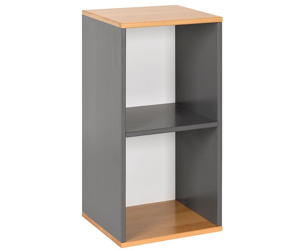 meuble de rangement 2 cases gris et h tre achat multicases