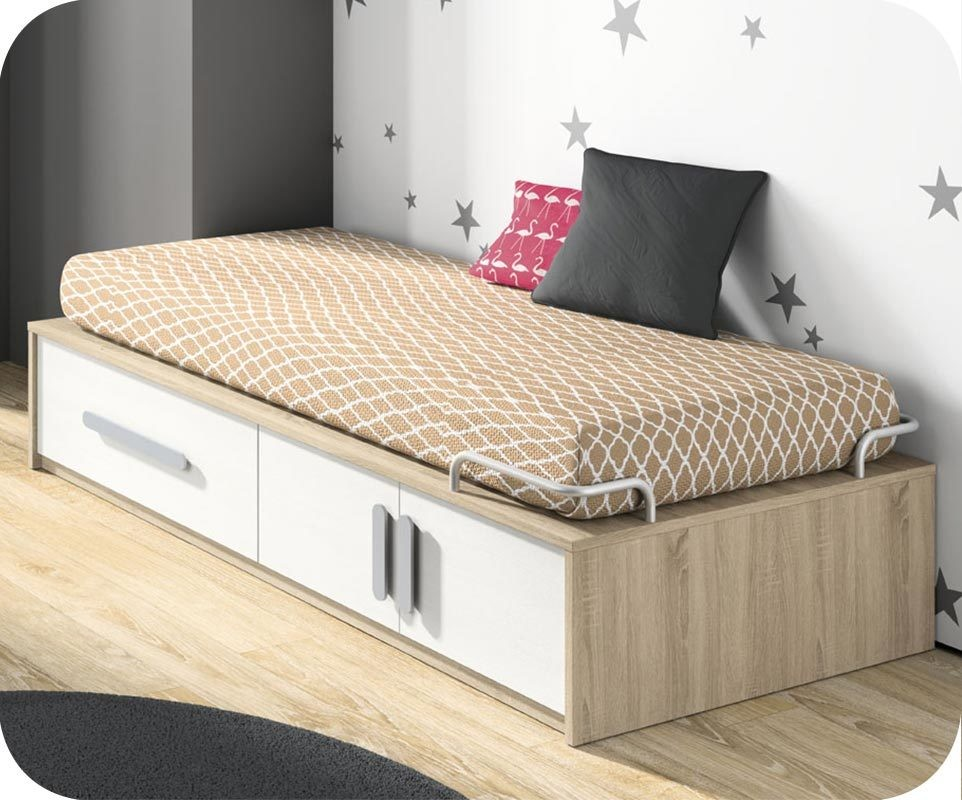 lit enfant planet blanc et ch ne avec rangements et matelas. Black Bedroom Furniture Sets. Home Design Ideas