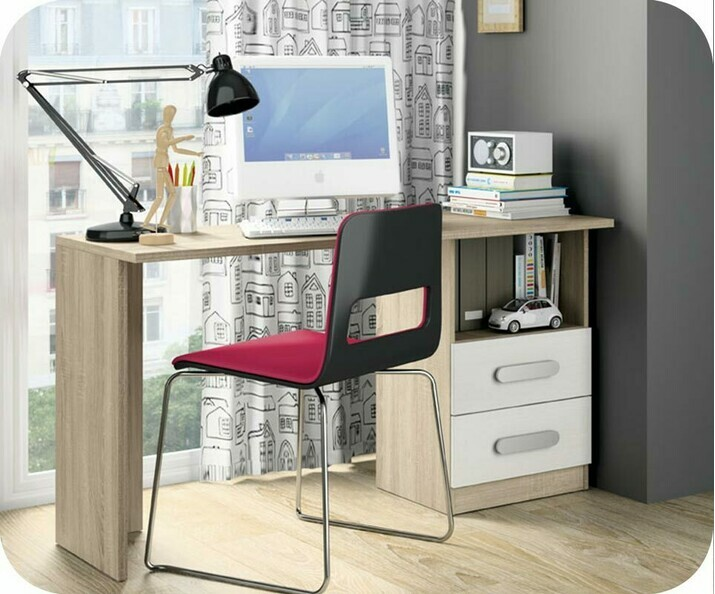 bureau enfant planet blanc et ch ne. Black Bedroom Furniture Sets. Home Design Ideas