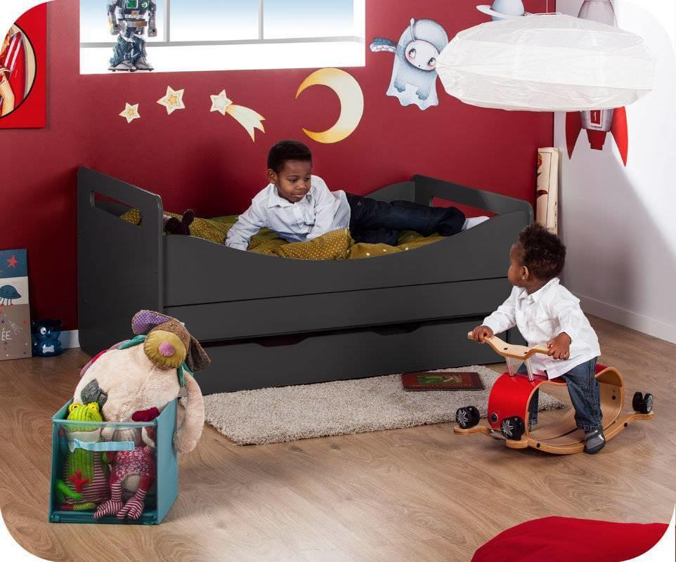 pack lit enfant volutif eden gris anthracite avec matelas et tiroir. Black Bedroom Furniture Sets. Home Design Ideas
