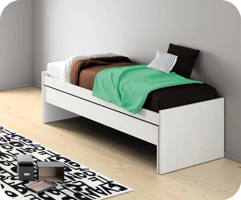 lit enfant gigogne planet blanc avec matelas. Black Bedroom Furniture Sets. Home Design Ideas