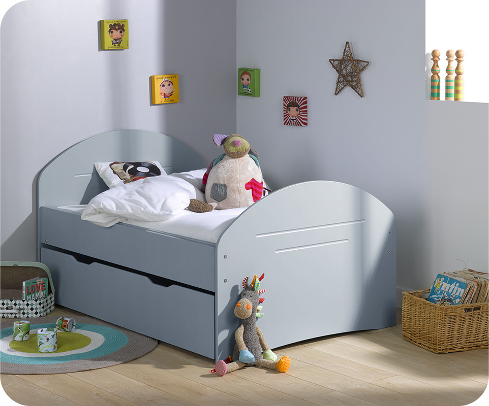 pack lit enfant evolutif spoom bleu gris avec tiroir de lit et matelas. Black Bedroom Furniture Sets. Home Design Ideas