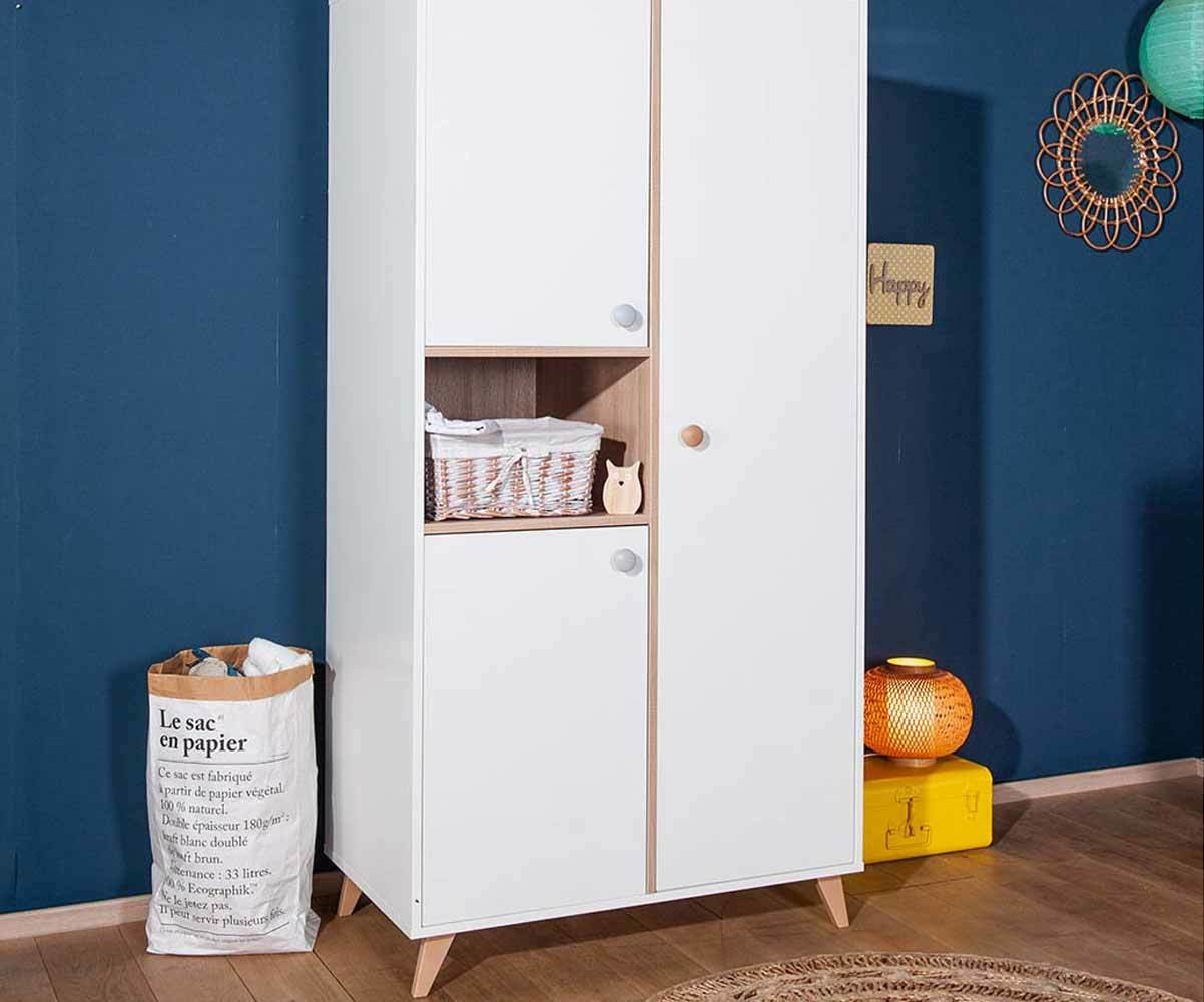 armoire b b pepper blanche et bois. Black Bedroom Furniture Sets. Home Design Ideas