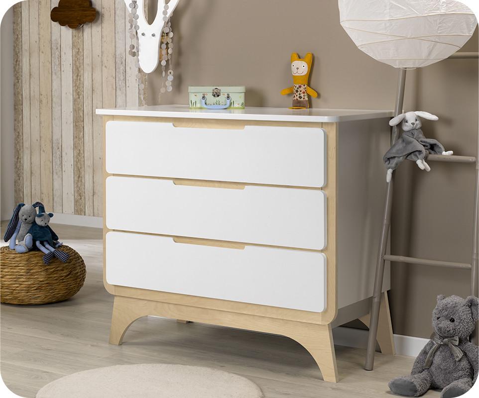 commode b b pepper blanche et bois. Black Bedroom Furniture Sets. Home Design Ideas