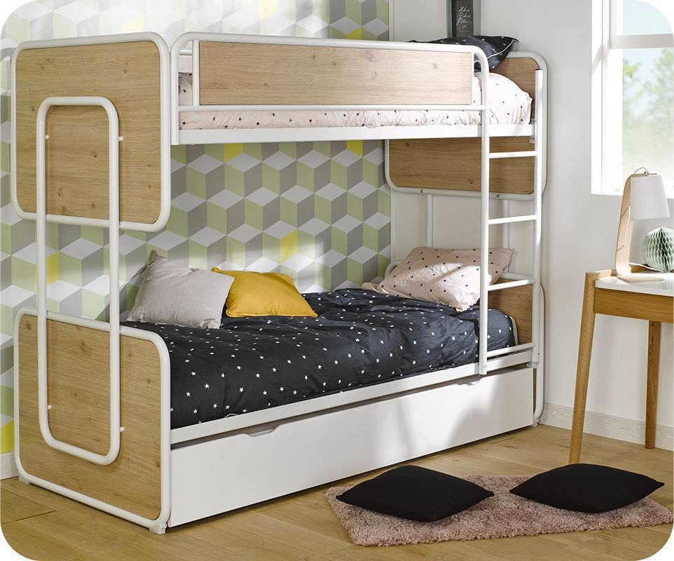 lit superpos enfant spiral blanc et ch ne 90x200 cm et matelas. Black Bedroom Furniture Sets. Home Design Ideas