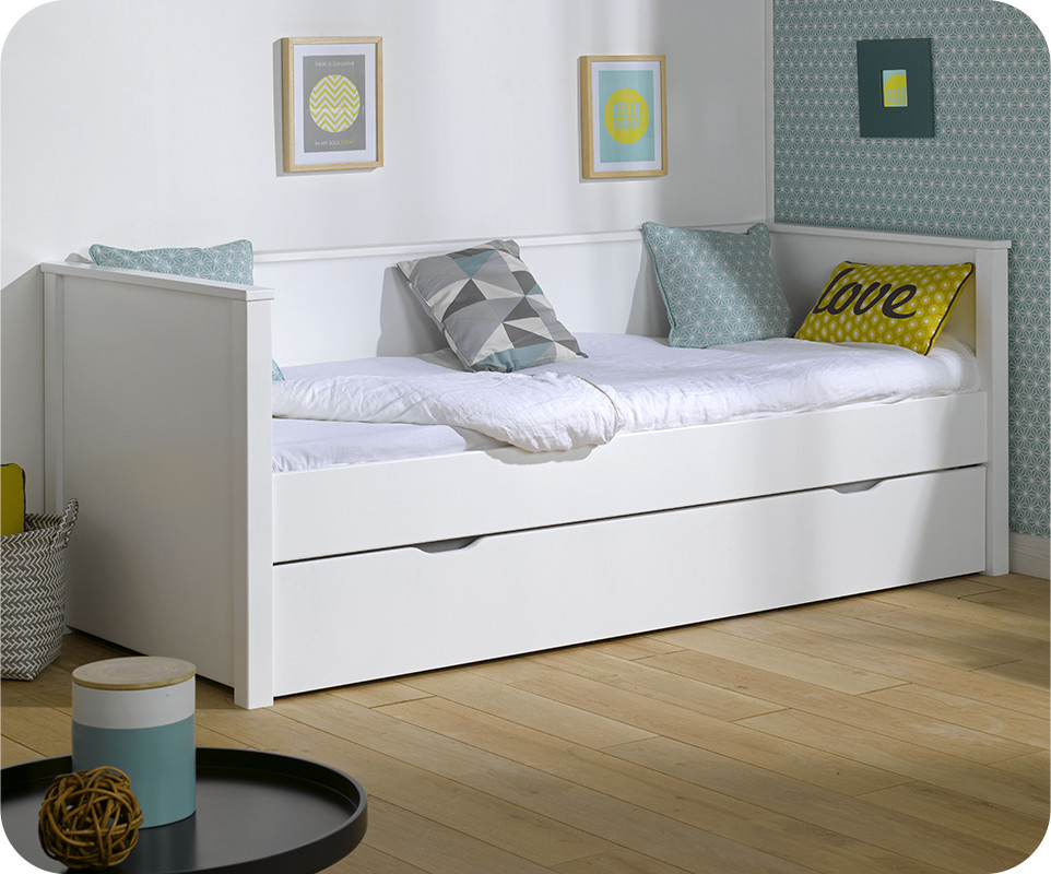 lit gigogne nova blanc 80x200 cm achat mobilier bois. Black Bedroom Furniture Sets. Home Design Ideas