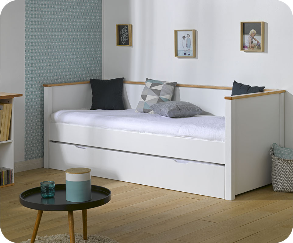 pack lit gigogne nova blanc et h tre 80x200 cm avec 2 matelas. Black Bedroom Furniture Sets. Home Design Ideas