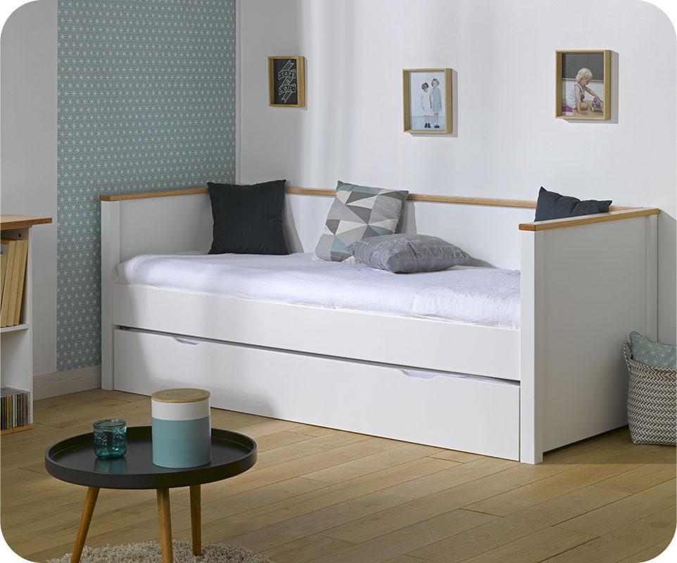 Pack lit gigogne nova blanc et h tre 80x200 cm avec 2 matelas - Lit gigogne avec matelas ...