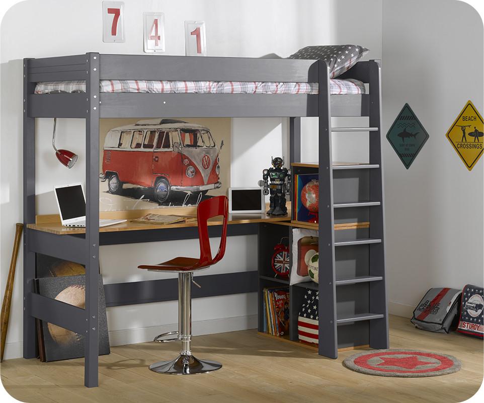 Lit mezzanine clay gris anthracite avec bureau - Lit enfant avec bureau ...