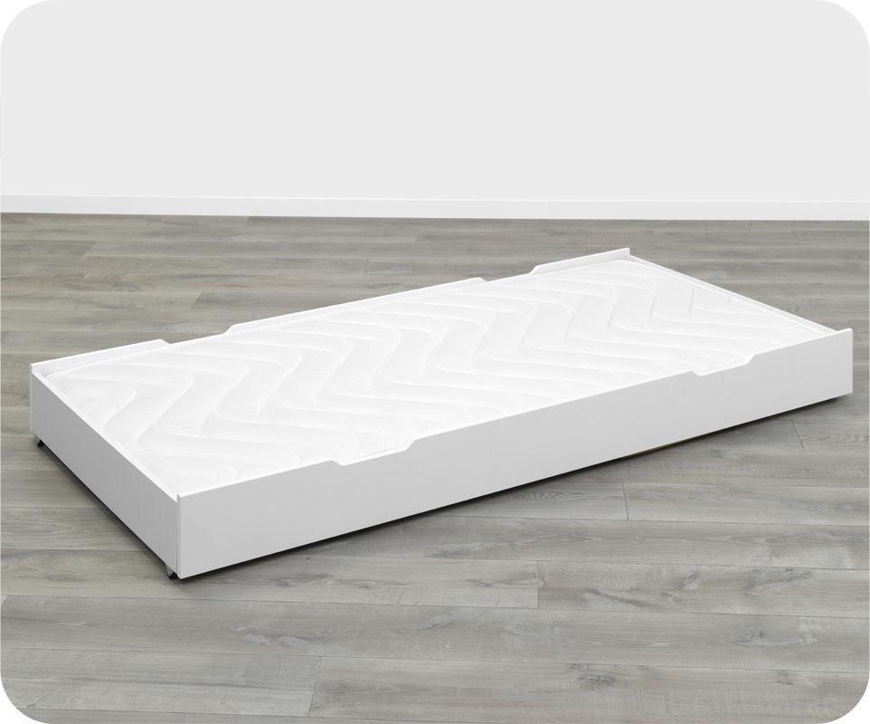 Tiroir de lit bois massif blanc 90x200 cm pour lits p come et in s - Lit bois massif tiroir ...