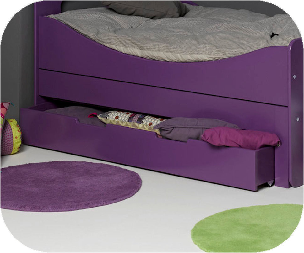 tiroir pour lit enfant evolutif eden violet 90x140 cm. Black Bedroom Furniture Sets. Home Design Ideas